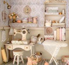 Miniature sewing room in 1/12 scale #miniature #dollhouse