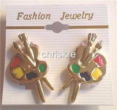 Gold Plated Artist Palette Earrings Clip Graduation Art Teacher Gift Paint Brush #Unbranded #Cluster