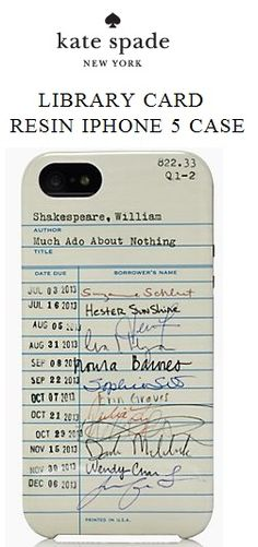 Kate Spade Library Card iPhone case - mlkshk