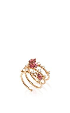 Diamond and Pink Tourmaline Wrap Ring by Mattia Cielo