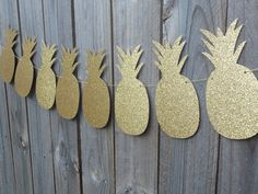 Pineapple Banner Garland Bunting  Gold glitter by ThePartyWorkshop