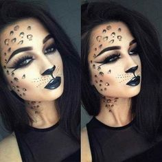 Halloween Makeup: Cheetah Leopard with Blackberry LipSense + ShadowSense eye shadow. Long lasting, waterproof, no budge, no smudge!  Contact me to purchase! Distributor #406510