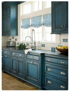 Beautiful kitchen and color.