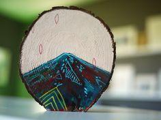 CathyMcMurray Mini painting on cedar. $32.00, via Etsy.