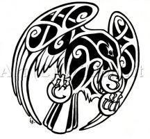 Celtic Raven Tattoo Commish by WildSpiritWolf
