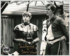 TESB: Darth Vader (David Prowse) looking rather British and non-intimidating without his mask, and Han Solo (Harrison Ford) appears to be tortured by the dialog he's expected to deliver.