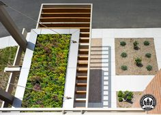 Suspended green roof, The Wisconsin Energy Conservation Corporation Building Entry