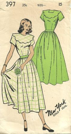 Vintage 50s Sewing Pattern   New York 397   Dress   Size 15 Bust 33 bea0b7b51a14