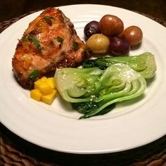 Mango habanero chicken with braised sesame bok choy & garlic potatoes.  My son said I nailed it tonight  #delicious #fresh #healthyfood #flavour @zimmysnook