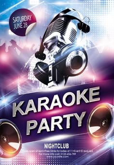 Let's chill out at the karaoke party! Organize great party with our free Karaoke party psd flyer! #karaoke #event #party #club # #bright