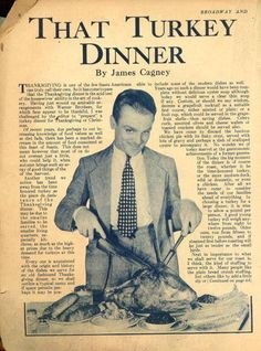James Cagney, cutting the turkey for Thanksgiving. Classic Film Noir, Classic Films, Hooray For Hollywood, Hollywood Stars, Vintage Hollywood, Classic Hollywood, Scottsboro Boys, Thomas Wolfe, James Cagney