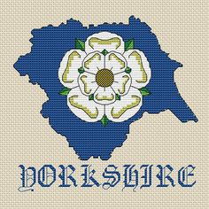 Yorkshire Map & Flag Cross Stitch Chart Only - Elite Designs Yorkshire Map, Yorkshire Rose, Yorkshire England, Yorkshire Dales, North Yorkshire, Cross Stitch Rose, Cross Stitch Charts, Cross Stitch Designs, Cross Stitch Patterns