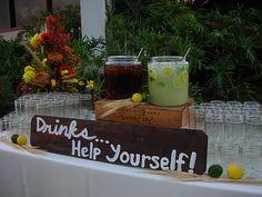 iced tea and lemonade at the cocktail hour.  Self serve seems like a good idea.