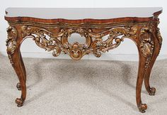 Hand Carved Mahogany - 58 Inch Entry Console Table - Wood and Light Gold Finish