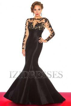 Trumpet/Mermaid High Neck Taffeta Lace Evening dress - IZIDRESSES.com at IZIDRESSES.com
