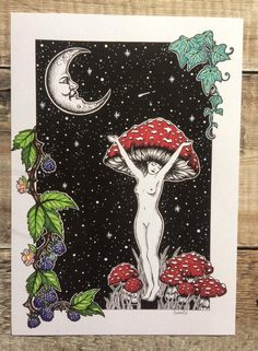 psychedelic mushroom amanita witchy magic lady etsy art Lady Amanita Magic Mushroom Witchy Art Psychedelic Art EtsyYou can find Witchcraft art and more on our website Mushroom Drawing, Mushroom Art, Psychedelic Drawings, Psychedelic Artists, Psychadelic Art, Pagan Art, Acid Art, Shadow Art, Hippie Art