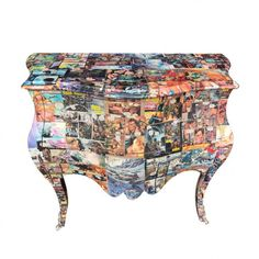 Decoupage Themed Comic Book Furniture Hallway Console Cabinet Hotels, pubs, restaurants, Call Smithers of Stamford 01780 435060 Book Furniture, Small Bedroom Furniture, Urban Furniture, Cheap Furniture, Discount Furniture, Furniture Plans, Hallway Console, Console Cabinet, Vintage Comic Books