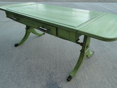 Vintage Wooden Mahogany Coffee Table Table In Distressed Eden Green With Drawer…