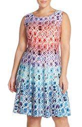 Gabby Skye Colorblock Print Fit & Flare Dress (Plus Size)
