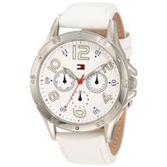 Tommy Hilfiger Women`s 1781177 White Multi-Eye Dial Leather Strap Watch Tommy Hilfiger Watches, Tear, Leather Watch Bands, Vintage Watches, Stainless Steel Case, Fashion Watches, White Leather, Fashion Today, Wrist Watches
