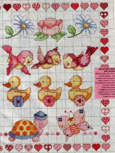 Cross-stitch Cute Patterns... no color chart available, just use pattern chart as your color guide.. or choose your own colors...  .. Artes de Maria Helena: BARRADOS DE FLORES