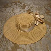 Wide Brim Straw Hat for French Fashion or Other Small Doll