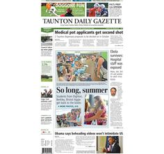 The front page of the Taunton Daily Gazette for Thursday, Sept. 4, 2014.