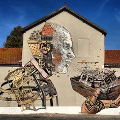Streetart Collaboration: New Mural by PixelPancho and Vhils in Lisbon // Portugal (4 Pictures + Clip)