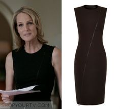 "Patricia Eamons (Helen Hunt) wears this black sleeveless zip front dress in this episode of Shots Fired, ""Hour Seven: Content of Their Character"". It is the Karen Millen Zip Detail Dress. Helen Hunt, Zip Front Dress, Shots Fired, Karen Millen, Season 1, Content, Tv, Detail, How To Wear"