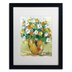 """Trademark Art """"Spring Flowers in a Vase 4"""" by Hai Odelia Framed Painting Print Size:"""