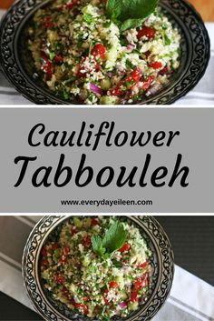 Cauliflower Tabbouleh is a delicious meal filled with fresh flavors from grated cauliflower, tomatoes, cucumbers, lemon, fresh parsley and mint