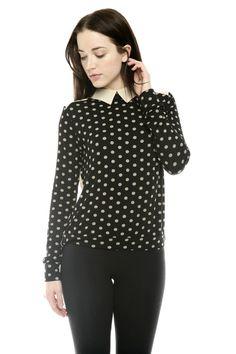 collared polka-dot blouse