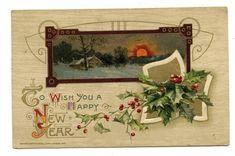antique 1911 JOHN WINSCH HAPPY NEW YEAR POSTCARD #1 embossed Cottage Scene | eBay