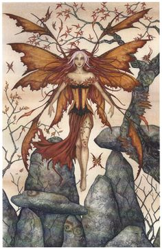 """Arrival, artwork by Amy Brown, an enchanting piece to admire and get lost in. This fairy has arrived from her long journey, and is ready to share her stories. A beautiful piece with a warm fall theme.  Dimensions: 8 1/2"""" W x 11"""" H  Materials: 80 lb cover stock Price: $12.95"""