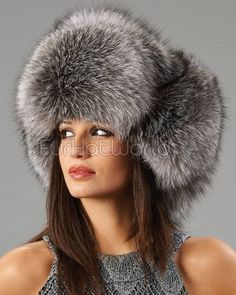 Womens Silver Fox Full Fur Russian Hat winter time Fur Hat World 88c20aa1ee9
