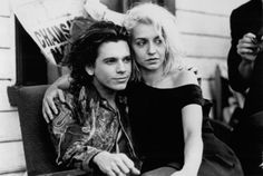 """Still of Michael Hutchence and Saskia Post in """"Dogs in Space"""" (1986)"""
