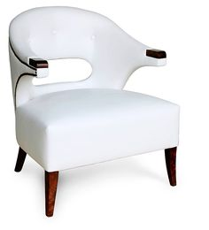 Armchairs, Italian Luxury Designer White Leather Armchair