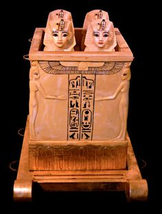 The Canopic Chest with four carved figures, all carved from solid alabaster, which contained the embalmed organs of the deceased