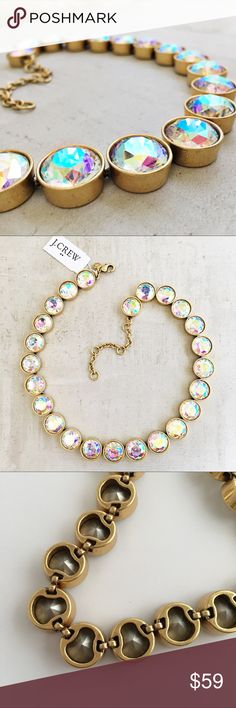 """J. Crew Iridescent Crystal Dots Necklace Buff STUNNING - this necklace is so gorgeous and amazing quality! It is also hard to find so get it now. These antiqued golden crème brûlée inspired rounds hold heaping buff iridescent stones that shine shades of pink, blue and yellow. Factory item. * Epoxy and glass stones. * Light gold ox plating. * 16"""" with a 3"""" extender chain for adjustable length. J. Crew Jewelry Necklaces"""