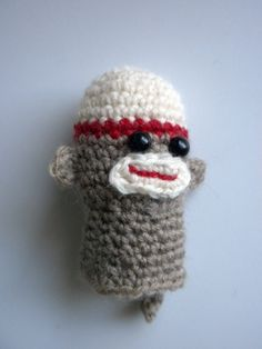 Sock Monkey Finger Puppet Free Crochet Pattern from The Yarn Box