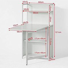 SoBuy® White Home Office 4 Tiers Bookcase Storage Shelves with Folding Writing Reading Laptop Desk Table Folding Furniture, Multifunctional Furniture, Smart Furniture, Space Saving Furniture, Table Furniture, Furniture Design, Furniture Storage, Table Desk, Furniture Outlet