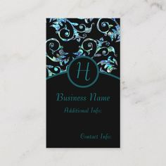 Get customizable Blue business cards or make your own from scratch! ✅ Premium cards printed on a variety of high quality paper types. Turquoise, Business Names, Business Card Design, Initials, Things To Come, Monogram, Pearls, Diy, Create