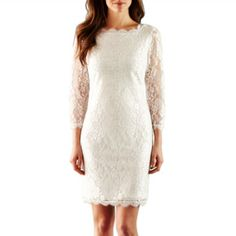 Simply Liliana 3/4-Sleeve Lace Dress  found at @JCPenney