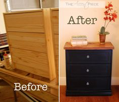 painted and stained Rast, add butcher block to the top