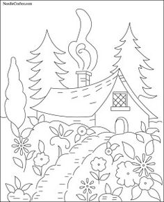 Free Hand Embroidery Pattern: Cottage in the Woods - I Sew Free