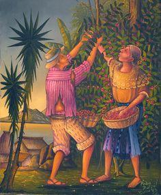 Pedro Rafael Gonzalez Chavajay contemporary Mayan artist Arte Latina, Latino Artists, Coffee Artwork, Tropical, Mexican Art, American Artists, Love Art, Flower Paintings, Arts
