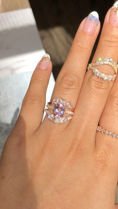 Solitaire Lavender Sapphire Ring + Diamond Bands by LaMore Design - Modern Purple Wedding Rings, Diamond Wedding Rings, Bridal Rings, Diamond Bands, Wedding Band Rings, Elegant Wedding Rings, Curved Wedding Band, Gold Wedding, Dream Engagement Rings