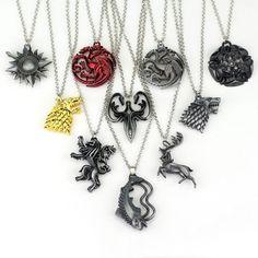 Game of Thrones *House Symbol* lion wolf dragon deer   Stark Baratheon Arryn  family members necklace Arryn