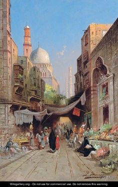 At the Bazaar , Cairo by Richard Karlovich Zommer - Russian , City Landscape, Fantasy Landscape, Arabian Art, Islamic Paintings, Old Egypt, Desert Art, Great Paintings, Historical Art, Arabian Nights