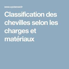 Classification des chevilles selon les charges et matériaux